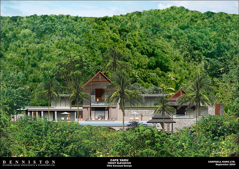 Front Elevation Rendering : Cape yamu luxury villas designed by philippe starck and