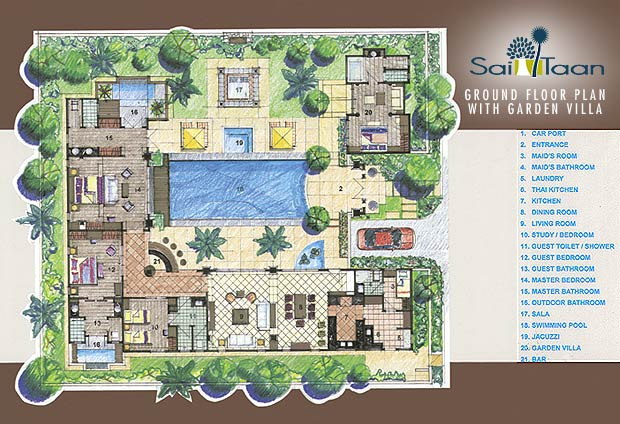 Floor plans sai taan phuket property for Garden home floor plans