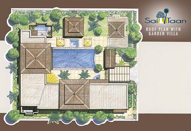 Rooftop garden plans home design for Villa landscape plan